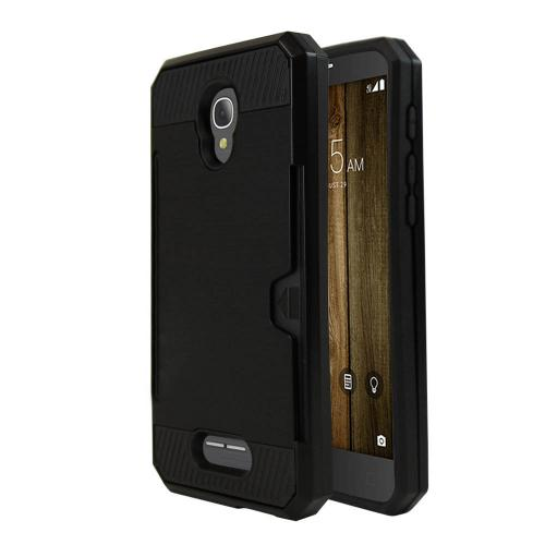 Alcatel Fierce 4 Case, Super Slim Brushed Metallic Hybrid Hard Cover on TPU w/ Card Slots [Black]