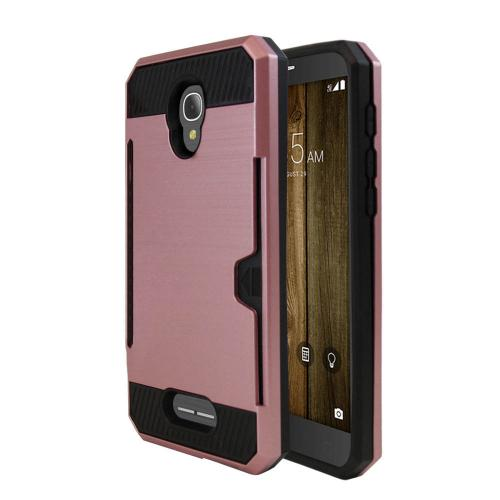 Alcatel Fierce 4 Case, Super Slim Brushed Metallic Hybrid Hard Cover on TPU w/ Card Slots [Rose Gold]