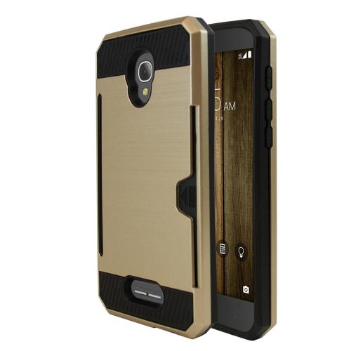 [Alcatel Fierce 4] Case, Super Slim Brushed Metallic Hybrid Hard Cover on TPU w/ Card Slots [Gold]