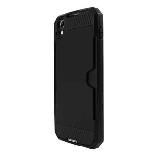 Alcatel Idol 4 Case, Super Slim Brushed Metallic Hybrid Hard Cover on TPU w/ Card Slots [Black]