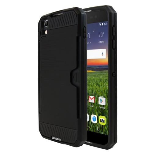 [Alcatel Idol 4] Case, Super Slim Brushed Metallic Hybrid Hard Cover on TPU w/ Card Slots [Black]