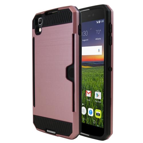 [Alcatel Idol 4] Case, Super Slim Brushed Metallic Hybrid Hard Cover on TPU w/ Card Slots [Rose Gold]