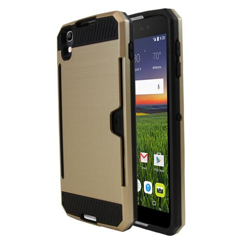 Alcatel Idol 4 Case, Super Slim Brushed Metallic Hybrid Hard Cover on TPU w/ Card Slots [Gold]