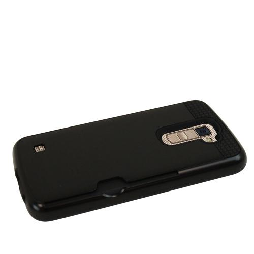 [LG K10] Case, Super Slim Brushed Metallic Hybrid Hard Cover on TPU w/ Card Slots [Black]