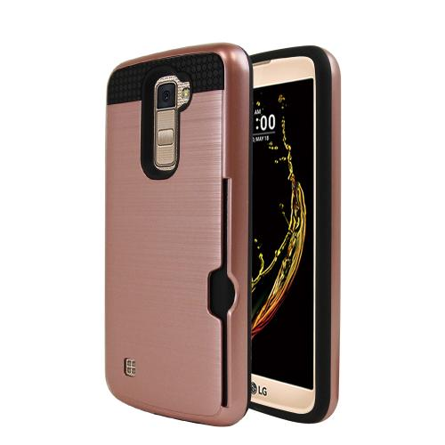 LG K10 Case, Super Slim Brushed Metallic Hybrid Hard Cover on TPU w/ Card Slots [Rose Gold]