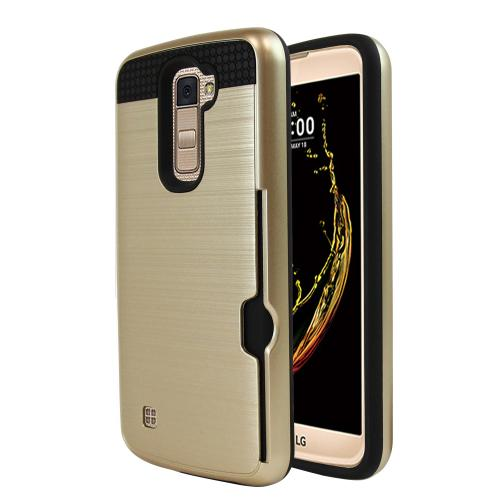 [LG K10] Case, Super Slim Brushed Metallic Hybrid Hard Cover on TPU w/ Card Slots [Gold]