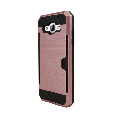 [Samsung Galaxy On5] Case, Super Slim Brushed Metallic Hybrid Hard Cover on TPU w/ Card Slots [Rose Gold]