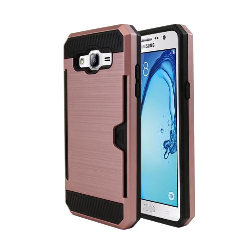 Samsung Galaxy On5 Case, Super Slim Brushed Metallic Hybrid Hard Cover on TPU w/ Card Slots [Rose Gold]
