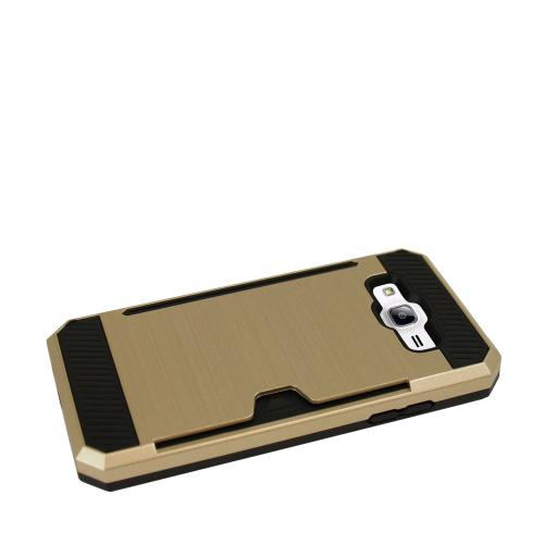 Samsung Galaxy On5 Case, Super Slim Brushed Metallic Hybrid Hard Cover on TPU w/ Card Slots [Gold]