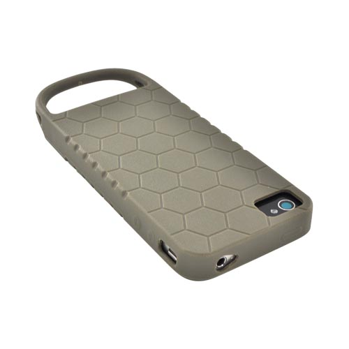 Original Strike Industries AT&T/ Verizon Apple iPhone 4, iPhone 4S Flexible Battle Case w/ Honeycomb Texture & Quick-Pull Ring, BCAIP4GHN021 - Oilve Green