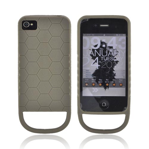 Genuine Strike Industries At&t Verizon Apple Iphone 4, Iphone 4s Flexible Battle Case W/ Honeycomb Texture & Quick-pull Ring - Oilve Green