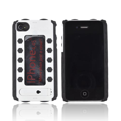 Bodydock Bronze Edition Apple Iphone 4 / 4s Hard Case / Screen Protective Appliqué - White/ Black