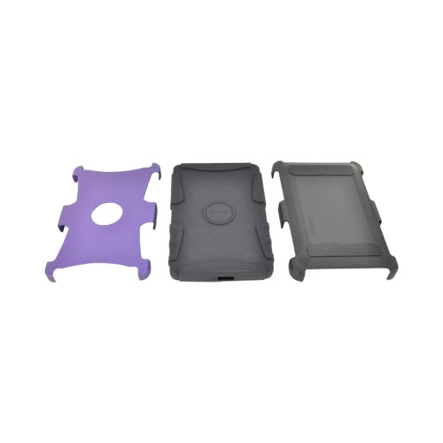 Original Seidio Amazon Kindle Fire Active Rubberized Hard Case Over Silicone w/ Multi-Purpose Stand, BD2-CSK3AMKNF-PR - Amethyst Purple/ Black