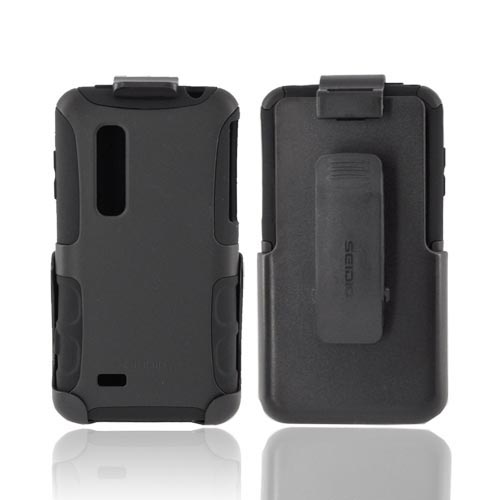 Original Seidio LG Thrill 4G Active Combo Rubberized Hard Case on Silicone & Holster w/ Belt Clip, BD2-HK3LGTHR-BK - Black