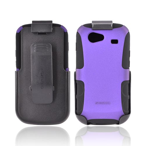 Original Seidio Google Nexus S Rubberized Hard Case on Silicone Case & Holster w/ Belt Clip Combo, BD2-HK3SSN2-PR - Purple/ Black