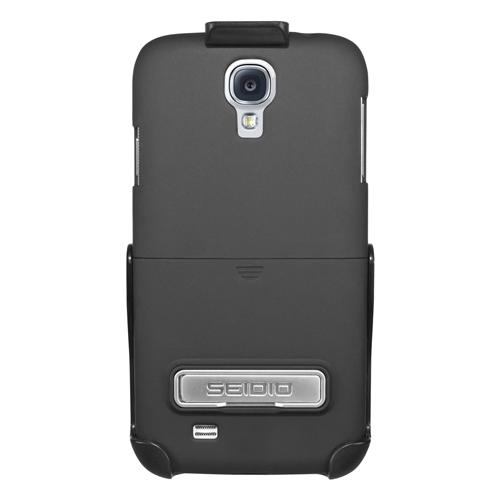 Seidio Black Surface Combo Rubberized Hard Cover Case w/ Kickstand & Holster for Samsung Galaxy S4 Active - BD2-HR3SSG4AK-BK