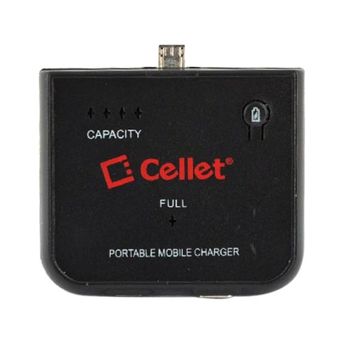 Cellet Universal Micro USB Emergency External Battery Charger - Black (1500mAh)