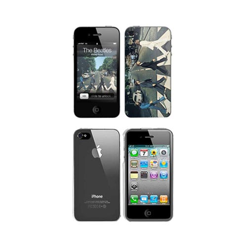 iPhone 4, iPhone 4S Music Skins Bundle Package w/ The Beatles Abbey Road & iPhone 4, iPhone 4S Clear Hard Case