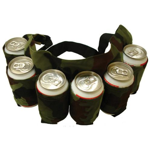 6-Pack Waistband Beer Belt Holder [Black] - Perfect for Camping & Outdoor Activities!