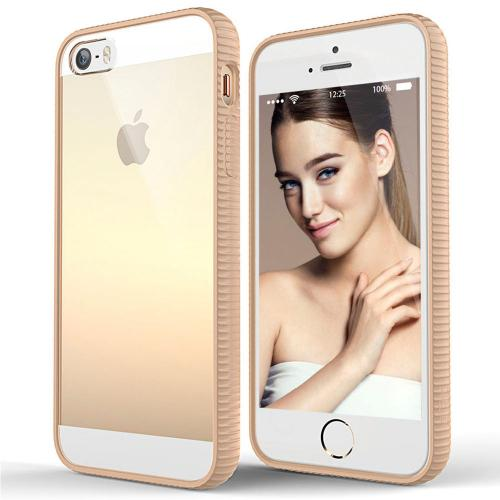 [Apple iPhone SE/5/5S] Case, BEFROG [Tan] Crystal Hard Back Slim Flexible Grip Clear Back Panel + TPU Bumper Cover Case