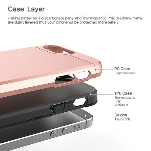 [Apple iPhone SE/5/5S] Case, BEFROG [Rose Gold] Dual Layer Drop Protective Case [Armor Case] PC + TPU Bumper Case
