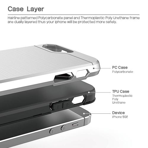 [Apple iPhone SE/5/5S] Case, BEFROG [Silver] Dual Layer Drop Protective Case [Armor Case] PC + TPU Bumper Case