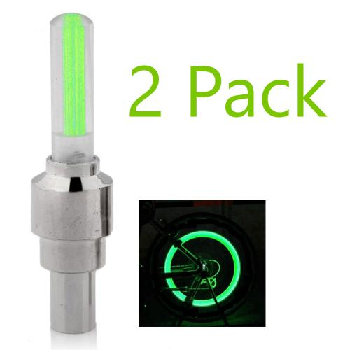 [2 Pack] Bike Tire Valve LED Light [Green] w/ Batteries - Be Seen at Night!