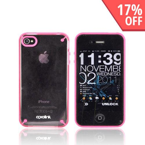 Original Hornettek Aprolink AT&T Apple iPhone 4 Fusion Dual Shell Hard Case, BIPH-406-02 - Hot Pink/ Transparent Pink