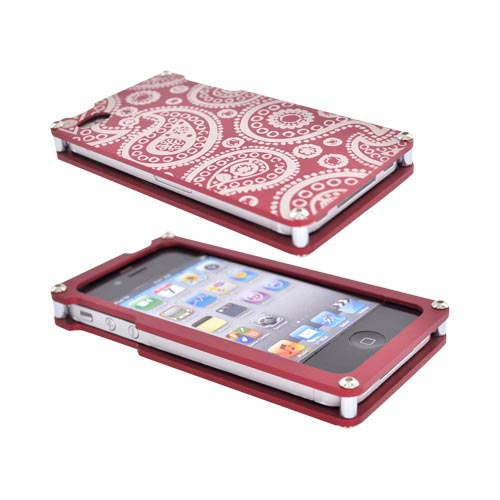 Exclusive BNA Nature AT&T/Verizon Apple iPhone 4 Aluminum Hard Case & Screen Protector, Exclusively from AccessoryGeeks! BNA-002-PA - Red (Paisley)