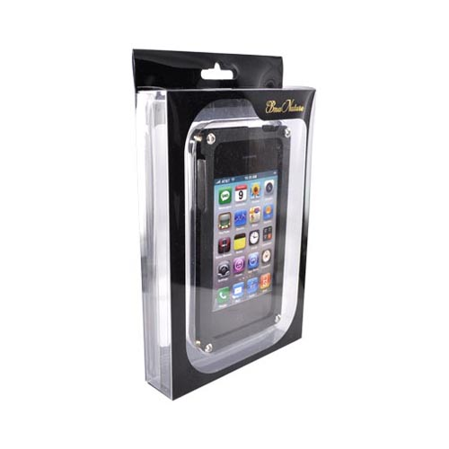 Solid Metal (aluminum) Case For At&t;/verizon Apple Iphone 4, Iphone 4s W/ Wood Back & Screen Protector By Bna - Black