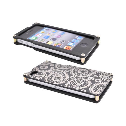 Exclusive BNA Nature AT&T/Verizon Apple iPhone 4 Aluminum Hard Case & Screen Protector, Exclusively from AccessoryGeeks! BNA-008-PA - Black (Paisley)