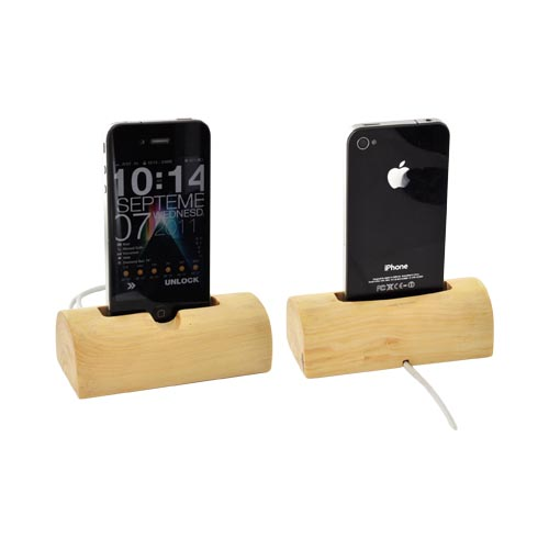 Exclusive BNA Nature Apple iPhone/ iPod 100% Hard Wood Log Dock w/ Data Cable