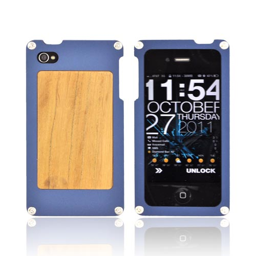 Solid Metal (aluminum) Case For At&t;/verizon Apple Iphone 4, Iphone 4s W/ Wood Back & Screen Protector By Bna - Bna-4 - Dark Blue