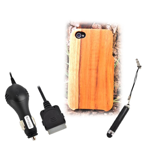 Exclusive TPhone Eco-Design Apple Verizon/ AT&T iPhone 4, iPhone 4S Teak Brown Wood Back Cover Case Bundle w/ Screen Protector, Extendable Stylus & Car Charger