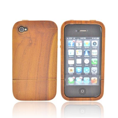 Hand-Finished Teak Wood Sliding Case for AT&T/ Verizon Apple iPhone 4/4S w/ FREE Screen Protector + Engraving**