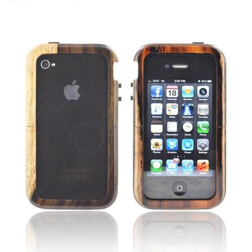 Exclusive Tphone Eco-Design iPhone 4/4S Hand-Finished Wood Sliding Frame Case w/ Screen Protector - Rose Wood