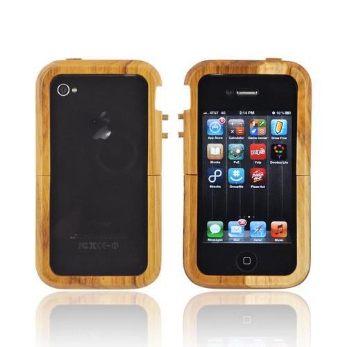 Exclusive Tphone Eco-Design iPhone 4/4S Hand-Finished Wood Sliding Frame Case w/ Screen Protector - Teak Wood