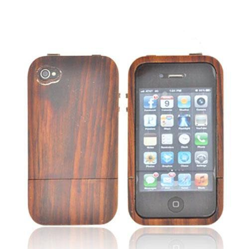 Tphone Eco-design At&t;/ Verizon Apple Iphone 4, Iphone 4s Hand-finished Wood Hard Sliding Cover Case W/ Screen Protector - Natural Sonokeling Wood