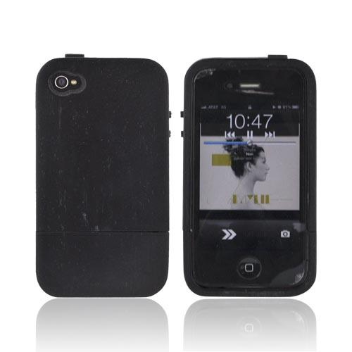 Tphone At&t / Verizon Apple Iphone 4, Iphone 4s Hand-finished Wood Hard Sliding Cover Case W/ Screen Protector - Black Snokeling Wood
