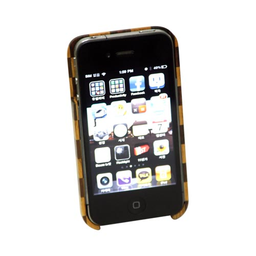 Exclusive TPhone Eco-Design AT&T;/ Verizon Apple iPhone 4, iPhone 4S Hand-Finished Wood Hard Back Cover Case - Checkered Teak Wood - XXIP4