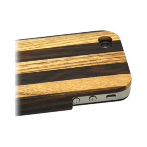 Exclusive TPhone Eco-Design AT&T/ Verizon Apple iPhone 4, iPhone 4S Hand-Finished Wood Hard Back Cover Case - Striped Teak Wood - XXIP4