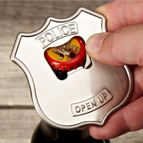 Kikkerland Open UP! Police Badge Stainless Steel Beer and Soda Bottle Opener