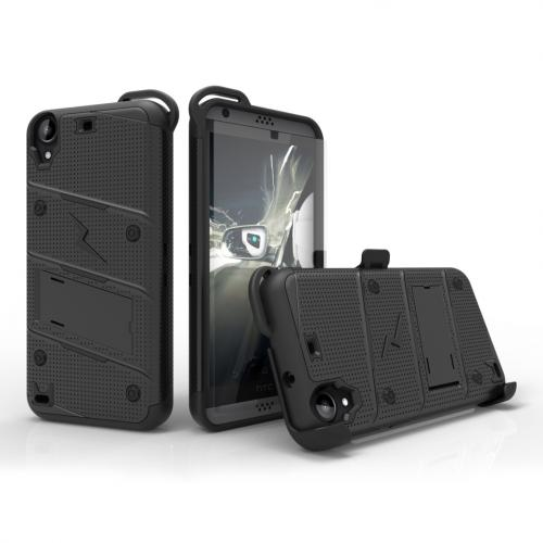 HTC Desire 530 Case - [bolt] Heavy Duty Cover w/ Kickstand, Holster, Tempered Glass Screen Protector & Lanyard [Black] - (ID: BOLT-HTC530-BKBK)