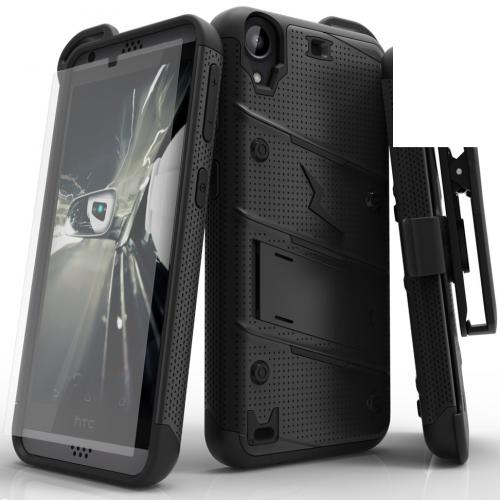 [HTC Desire 530] Case - [BOLT] Heavy Duty Cover w/ Kickstand, Holster, Tempered Glass Screen Protector & Lanyard [Black]
