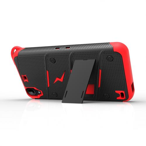 HTC Desire 530 Case - [BOLT] Heavy Duty Cover w/ Kickstand, Holster, Tempered Glass Screen Protector & Lanyard [Black/ Red]