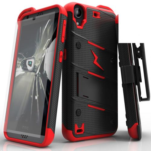 [HTC Desire 530] Case - [BOLT] Heavy Duty Cover w/ Kickstand, Holster, Tempered Glass Screen Protector & Lanyard [Black/ Red]