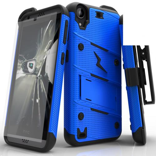 HTC Desire 530 Case - [bolt] Heavy Duty Cover w/ Kickstand, Holster, Tempered Glass Screen Protector & Lanyard [Blue/ Black] - (ID: BOLT-HTC530-BLBK)