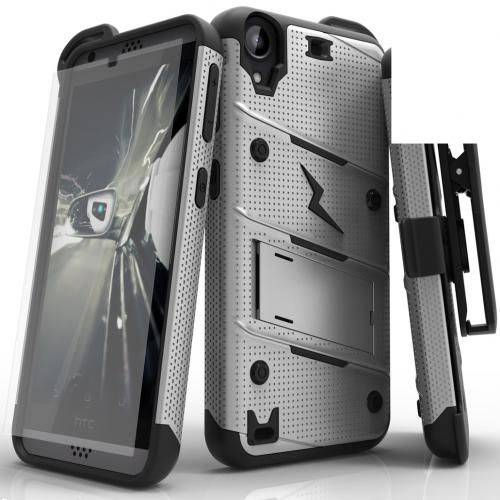 HTC Desire 530 Case - [bolt] Heavy Duty Cover w/ Kickstand, Holster, Tempered Glass Screen Protector & Lanyard [Gray/ Black] - (ID: BOLT-HTC530-GRBK)