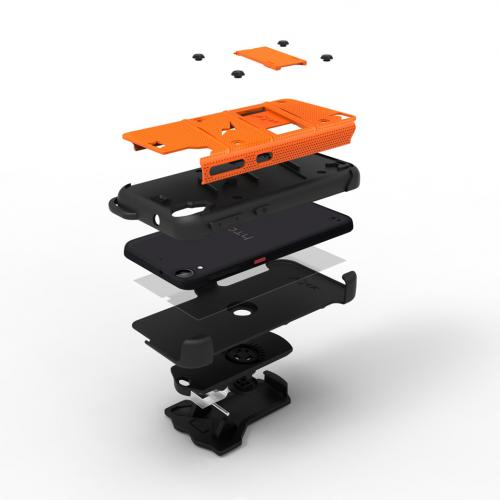 [HTC Desire 530] Case - [BOLT] Heavy Duty Cover w/ Kickstand, Holster, Tempered Glass Screen Protector & Lanyard [Orange/ Black]