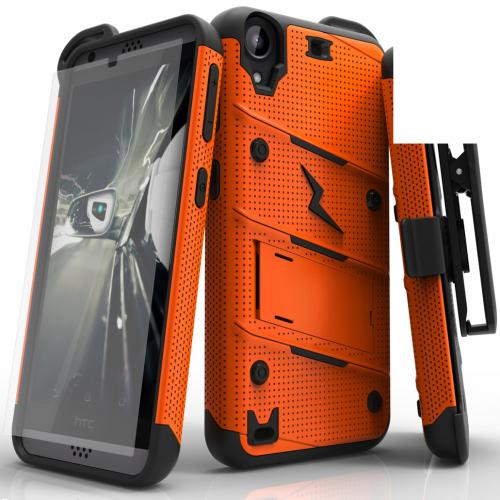 HTC Desire 530 Case - [bolt] Heavy Duty Cover w/ Kickstand, Holster, Tempered Glass Screen Protector & Lanyard [Orange/ Black] - (ID: BOLT-HTC530-ORBK)
